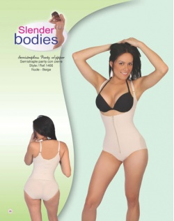 Item No.1466 Slender Bodies Catalog Semi Strapless Panty With Zipper Nude- Beige