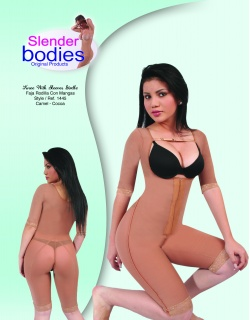 Item No.1445 Slender Bodies Catalog Knee with Sleeves Girdle Camel- cocoa